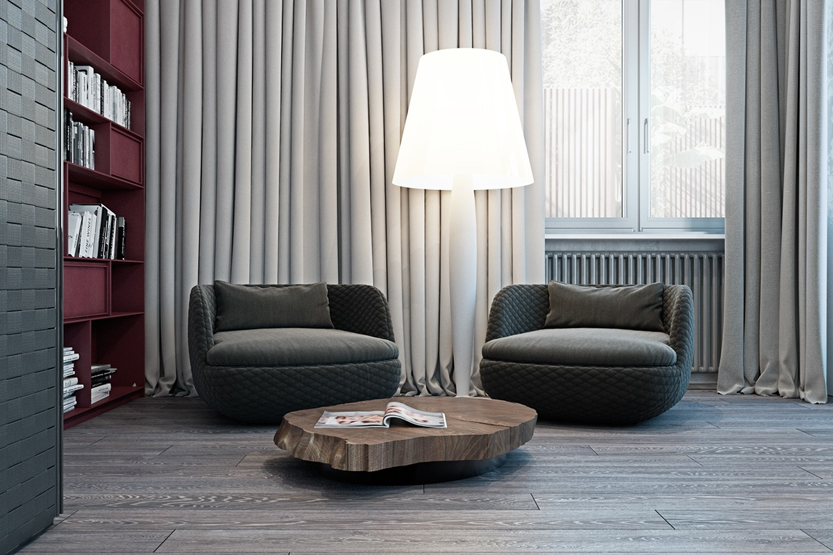Modern Oversized Lamp - A modern flat with striking texture and dark styling