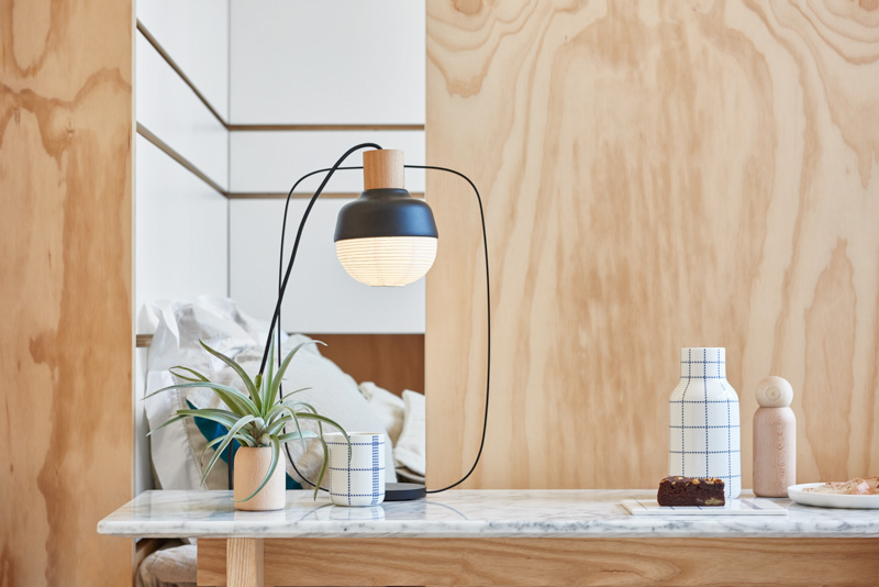 Modern Paper And Wire Lamp - An incredibly compact house under 40 square meters that uses natural decor