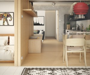 A stylish white bedroom resides inside the central divider. Such a smart use of space!