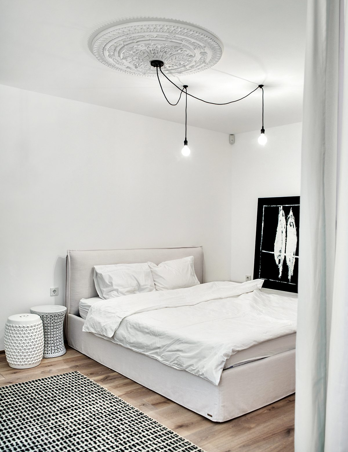 Oversized Ceiling Medallion - A bright white home with organic details
