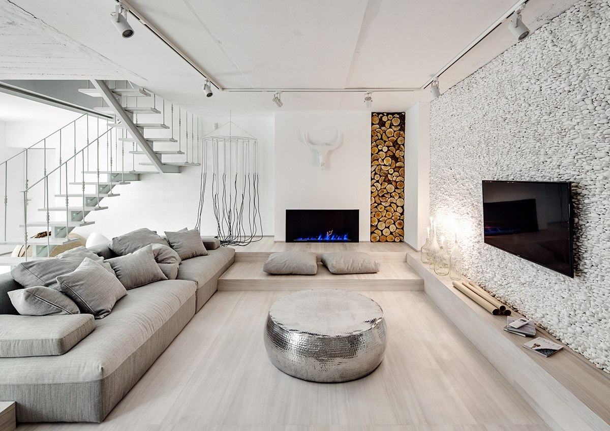 A bright white home with organic details for Modern architectural interior designs