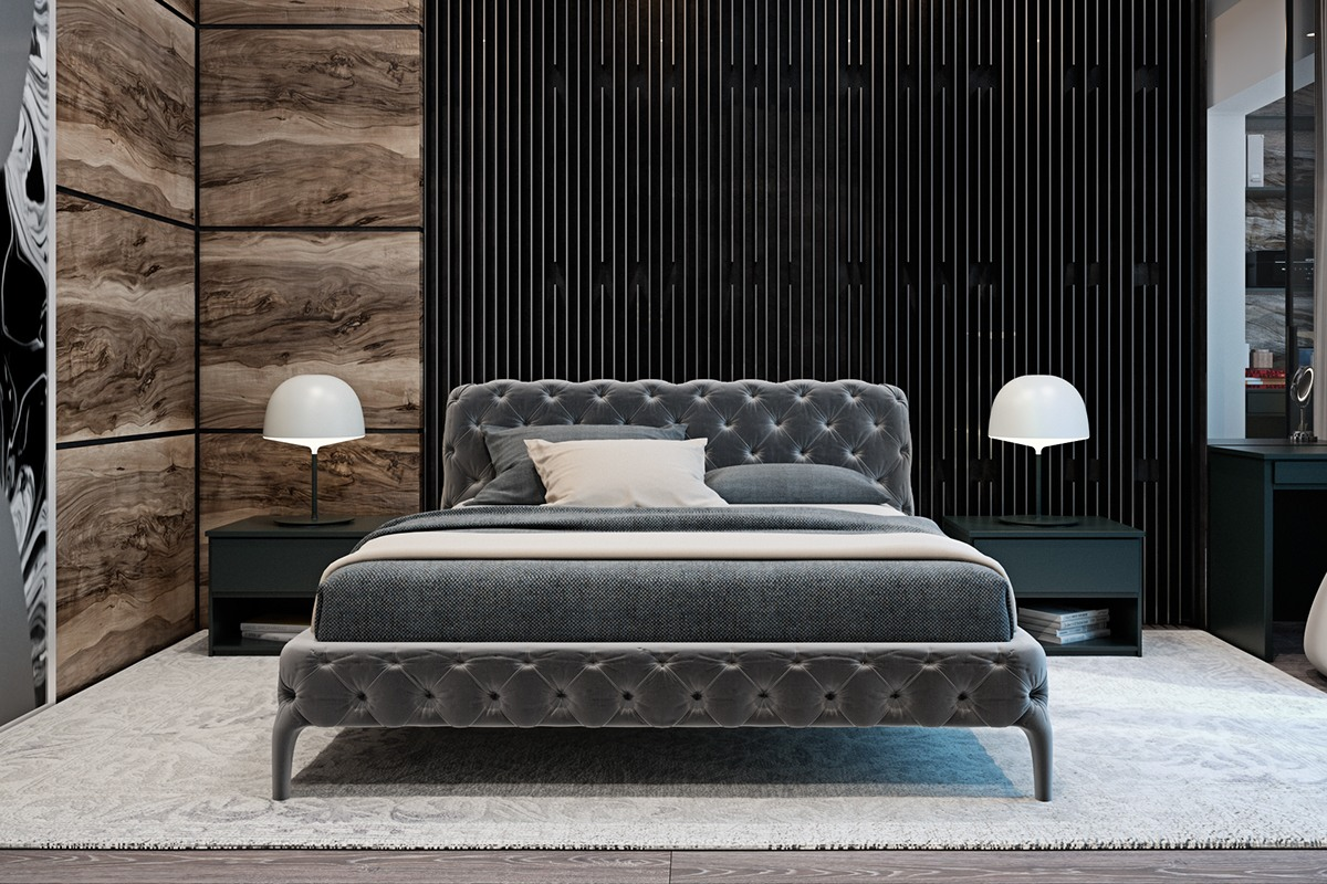 Pinstripe Bedroom Textures - A modern flat with striking texture and dark styling