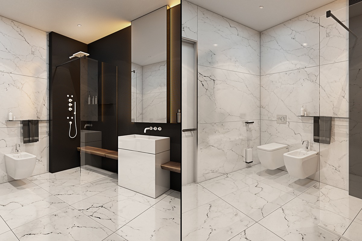 Square Marble Tile Bathroom - A modern flat with striking texture and dark styling