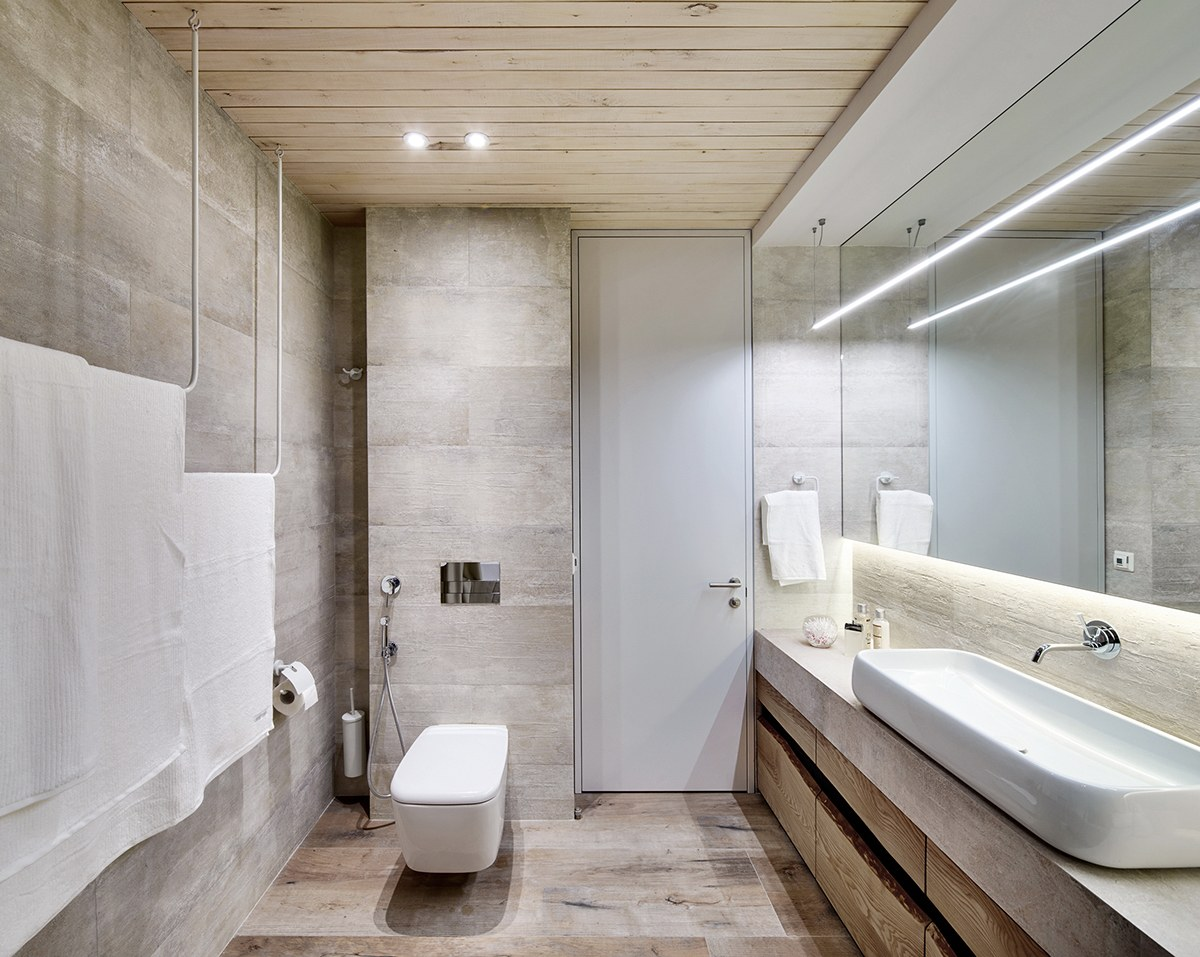 Stone And Wood Bathroom - A bright white home with organic details
