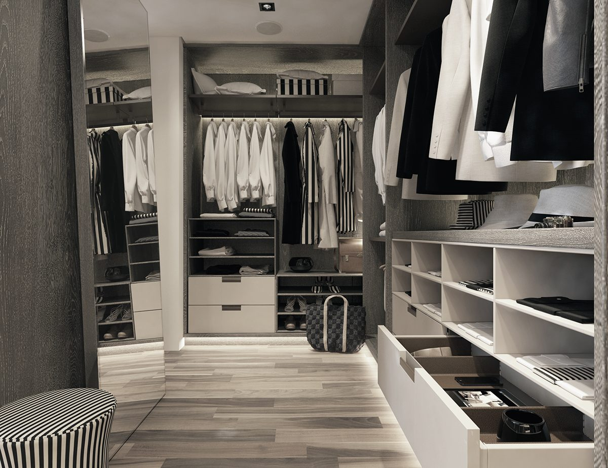 Stylish Black And White Walk In Closet - A modern art deco home visualized in two styles
