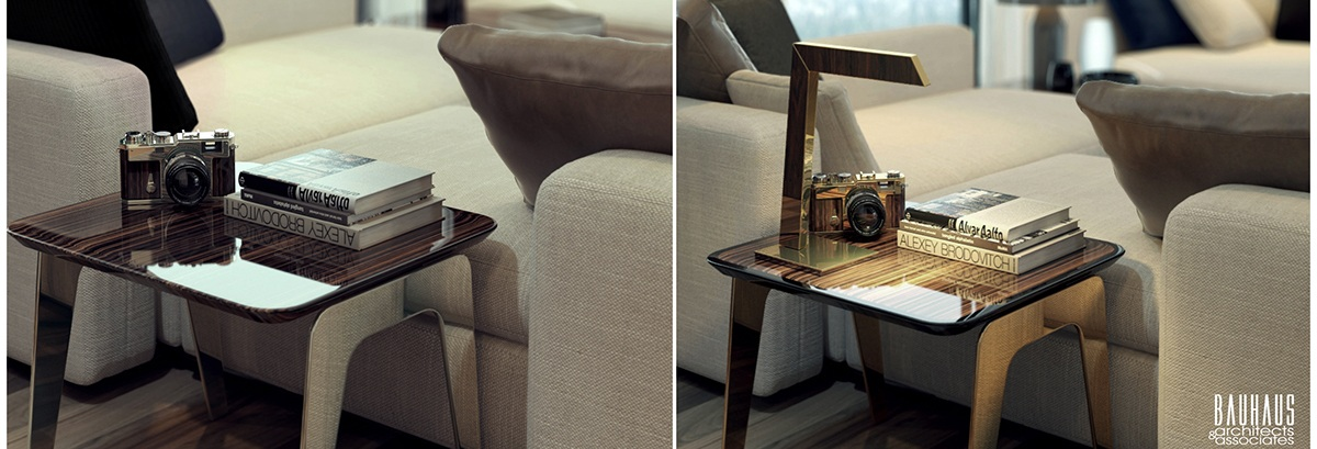 Table With Or Without Lamp - A modern art deco home visualized in two styles