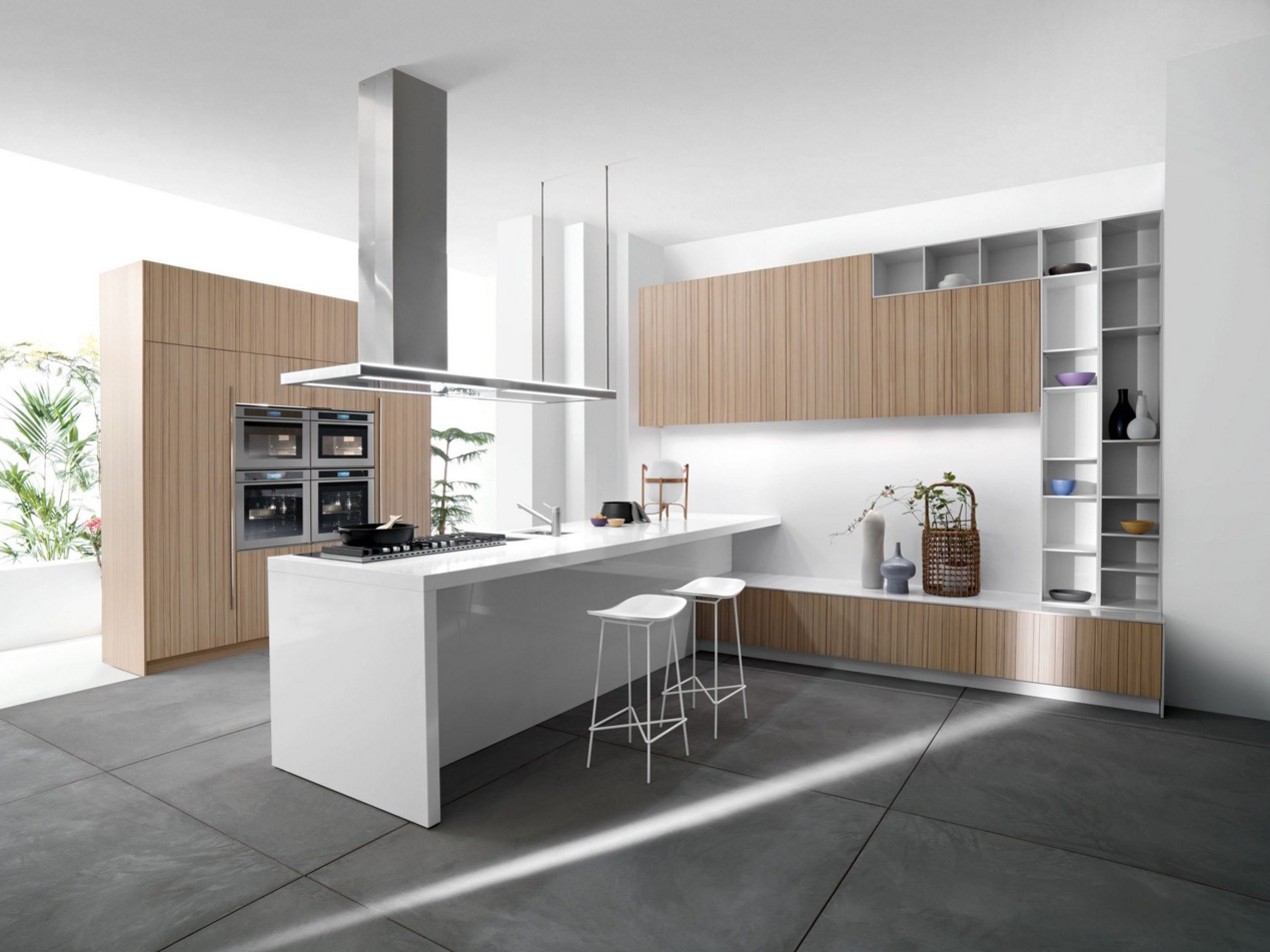 ^ 25 White nd Wood Kitchen Ideas