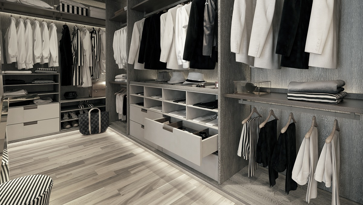 Wardrobe Organization Ideas - A modern art deco home visualized in two styles