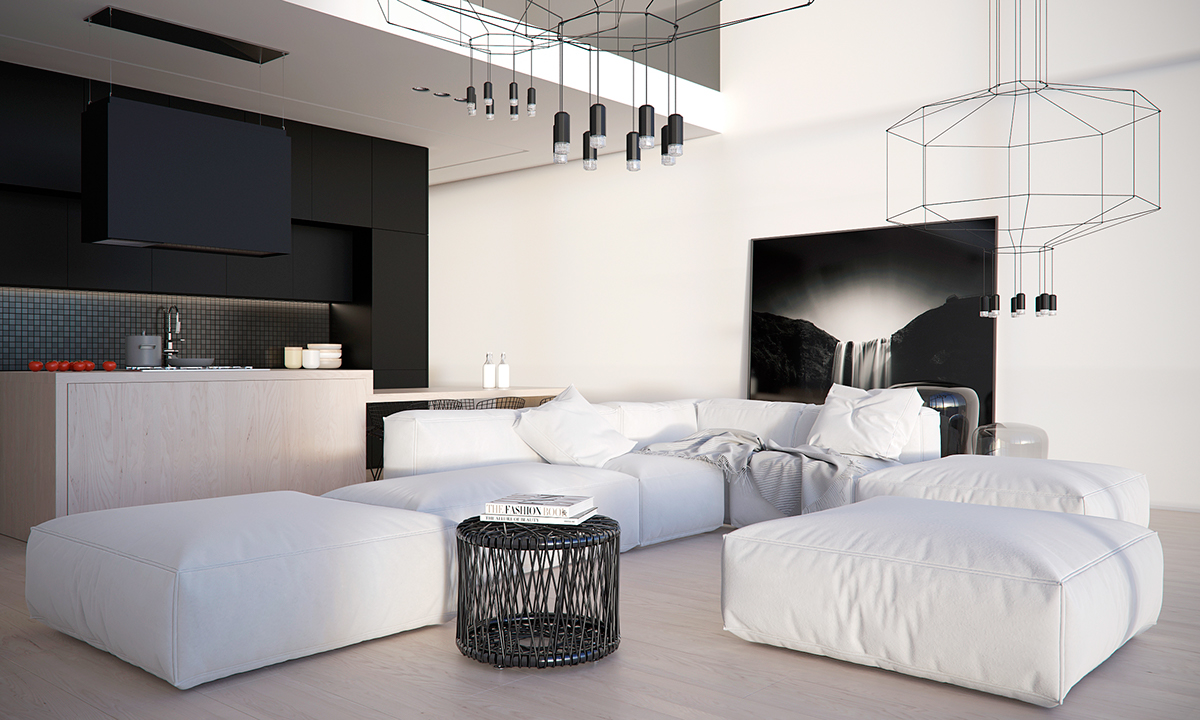 White Black And Wood Living Room - Four homes with four different takes on integrated storage