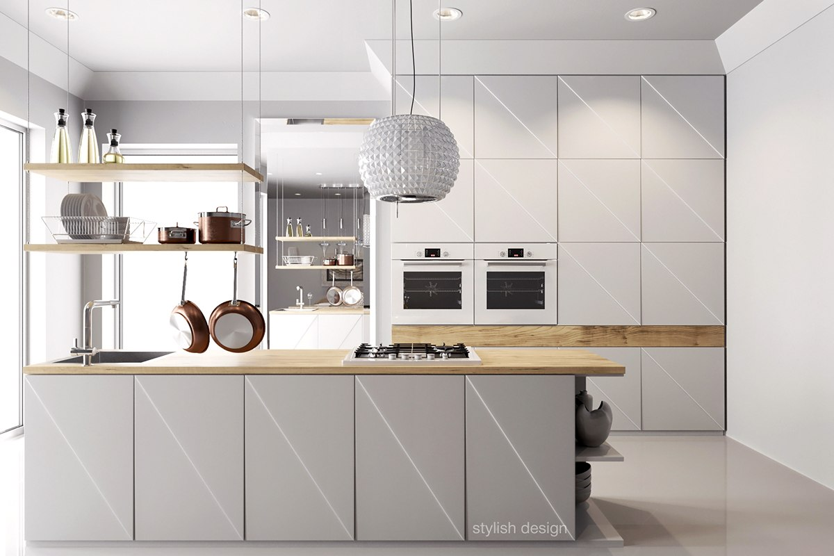 25 white and wood kitchen ideas - Cuisine blanche contemporaine ...