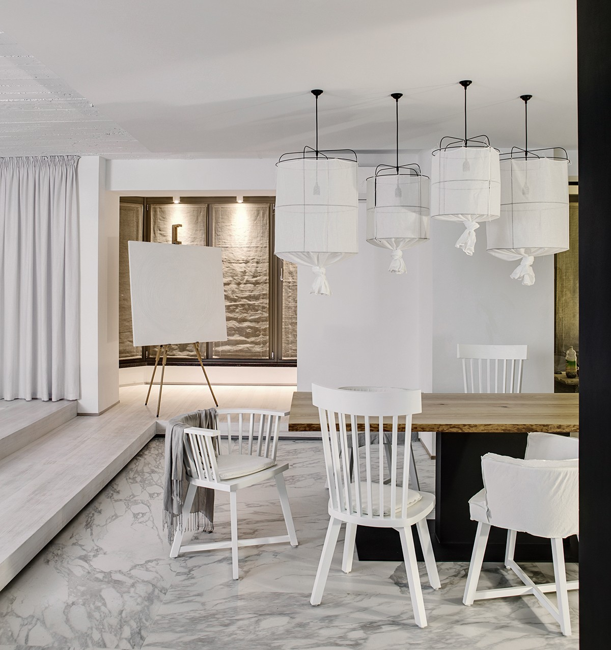 Wire Lamps With Cloth Shades - A bright white home with organic details