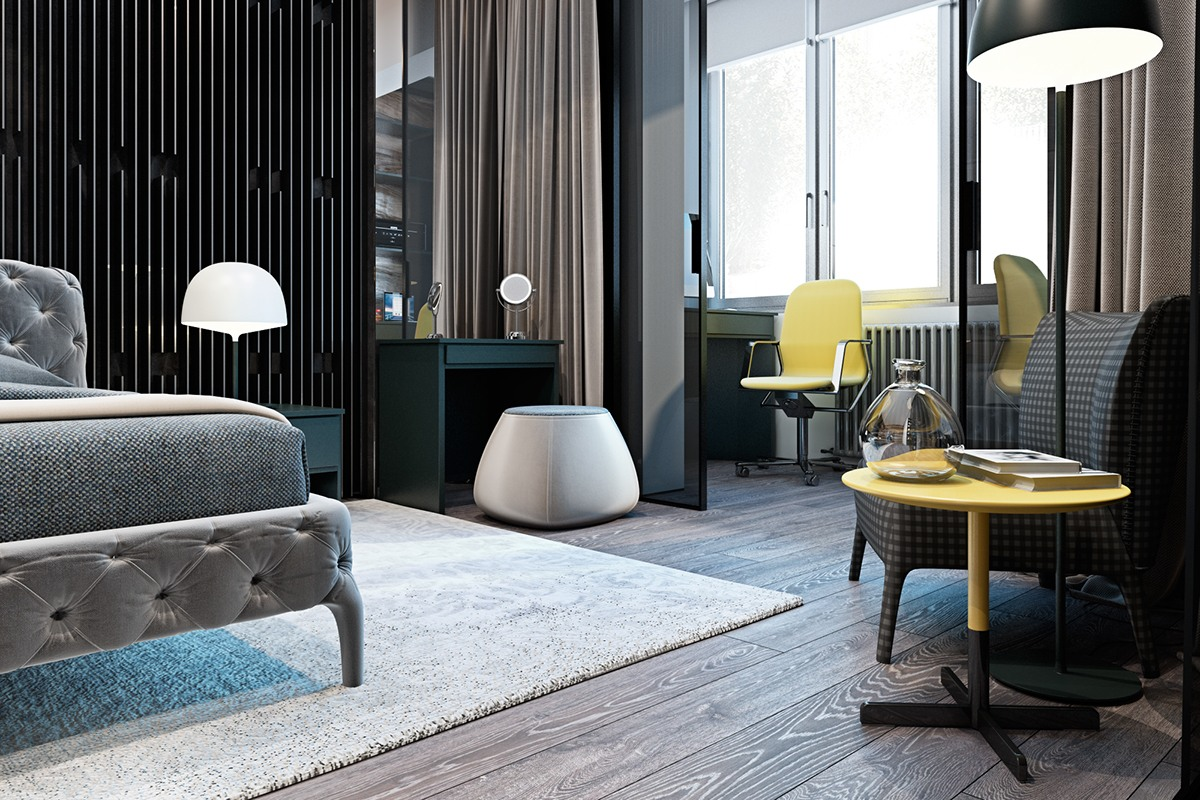 Yellow And Gray Bedroom Decor - A modern flat with striking texture and dark styling