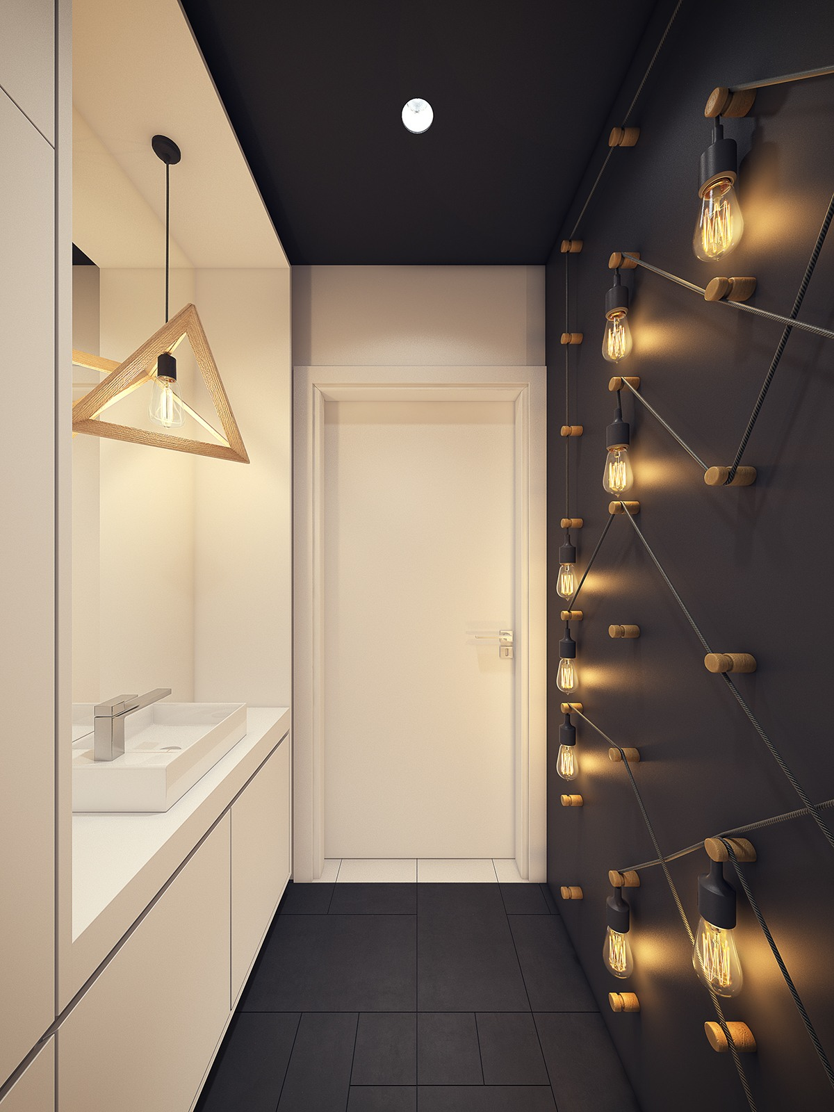 Amazing Bathroom Light Ideas - A modern scandinavian inspired apartment with ingenius features