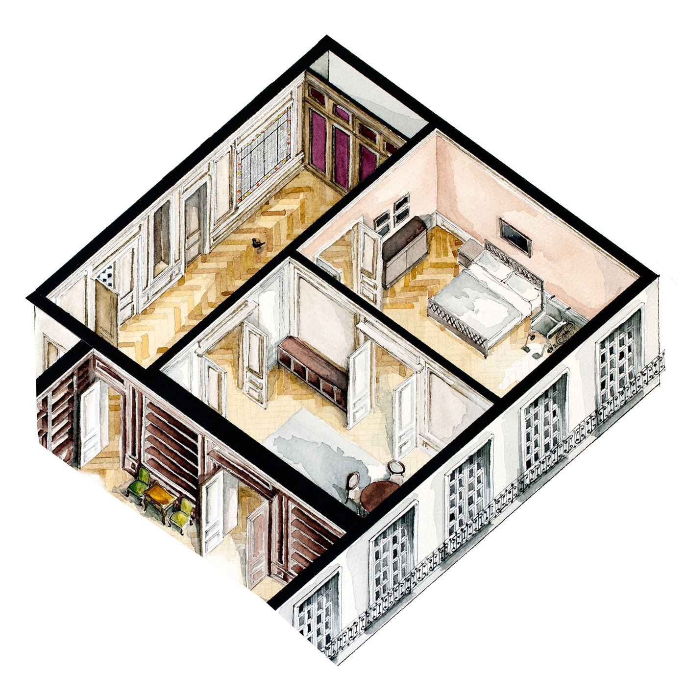 Amour Movie Floor Plan - Watercolor floorplans from recent television shows and films