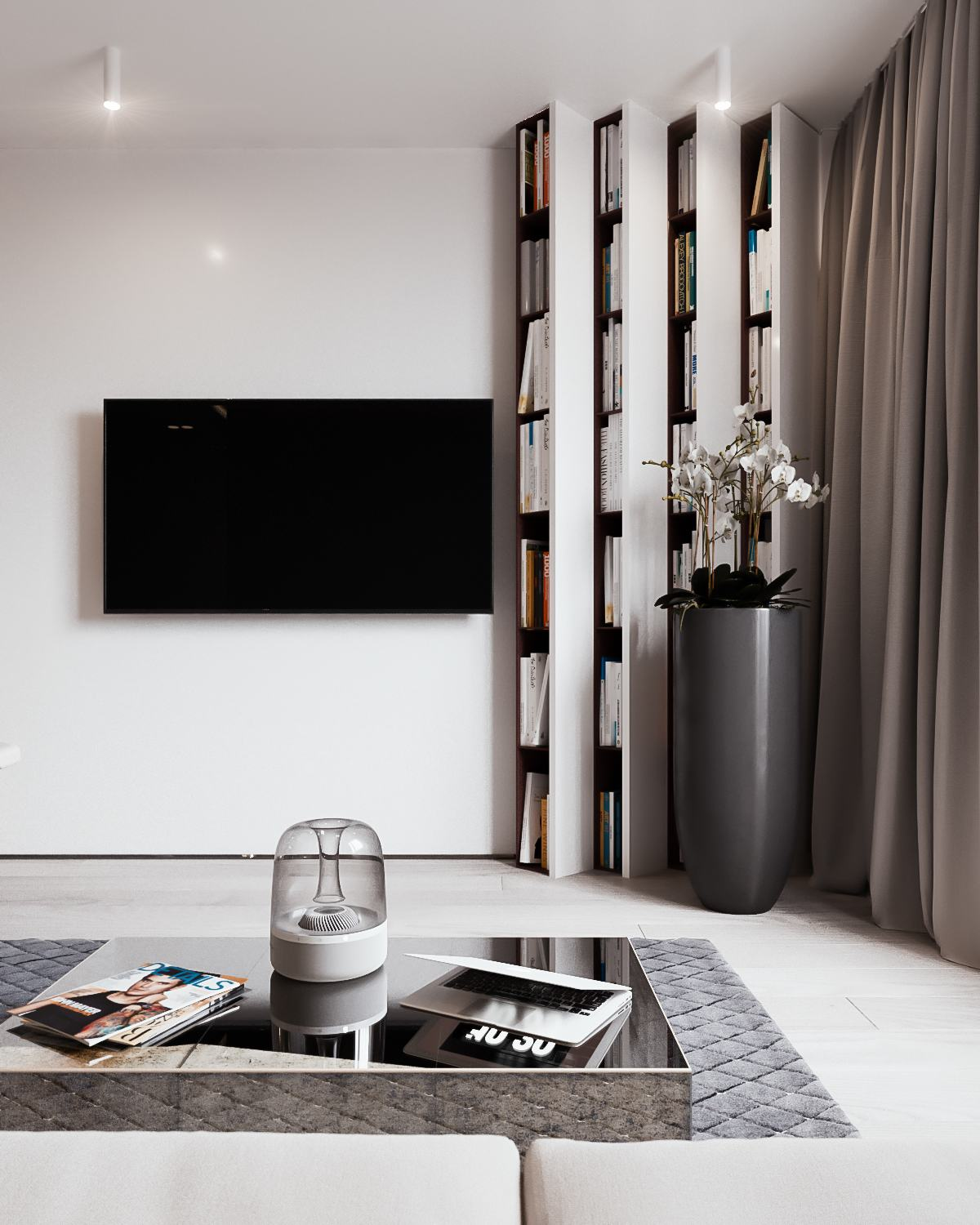 Angled Bookshelf Ideas - A calm and simple family home with neat features
