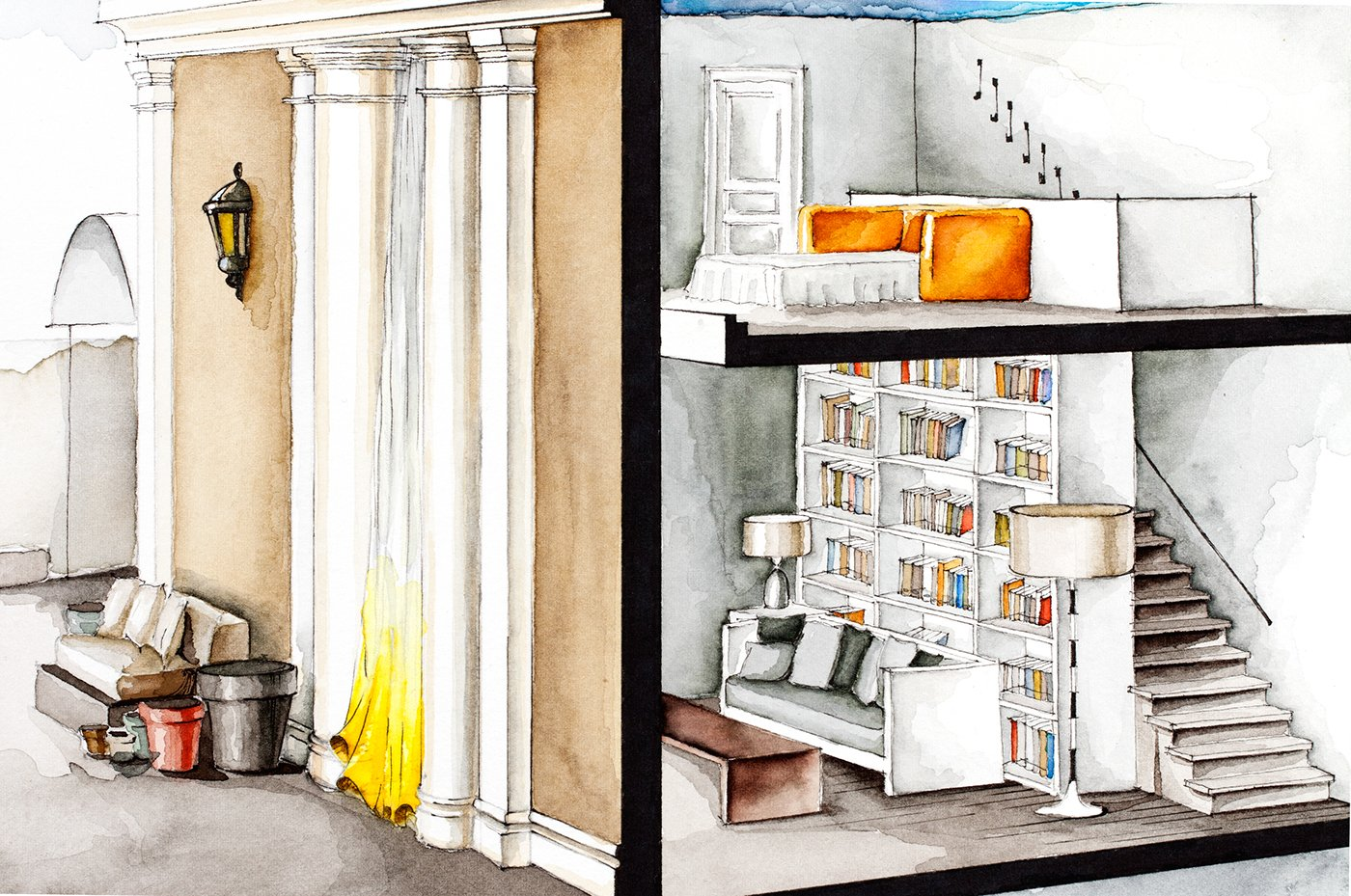 Apartment From The Great Beauty - Watercolor floorplans from recent television shows and films