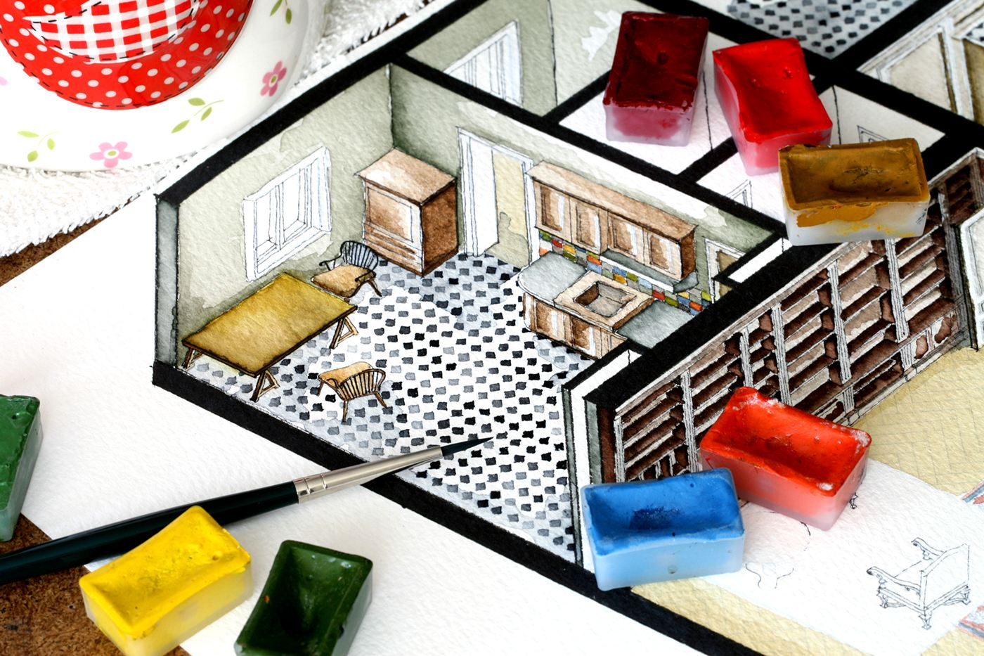 Architectural Paintings From Movies - Watercolor floorplans from recent television shows and films