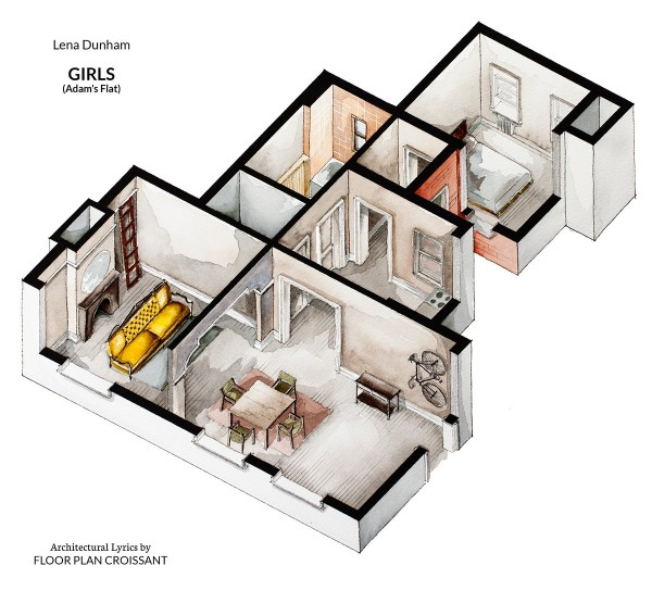 Watercolor Floorplans From Recent Television Shows And Films