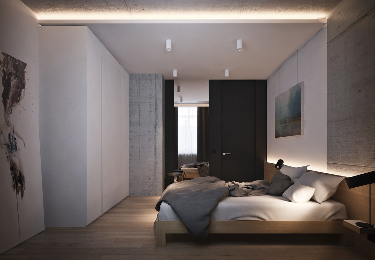Black And Concrete Bedroom - 4 beautiful dark themed homes