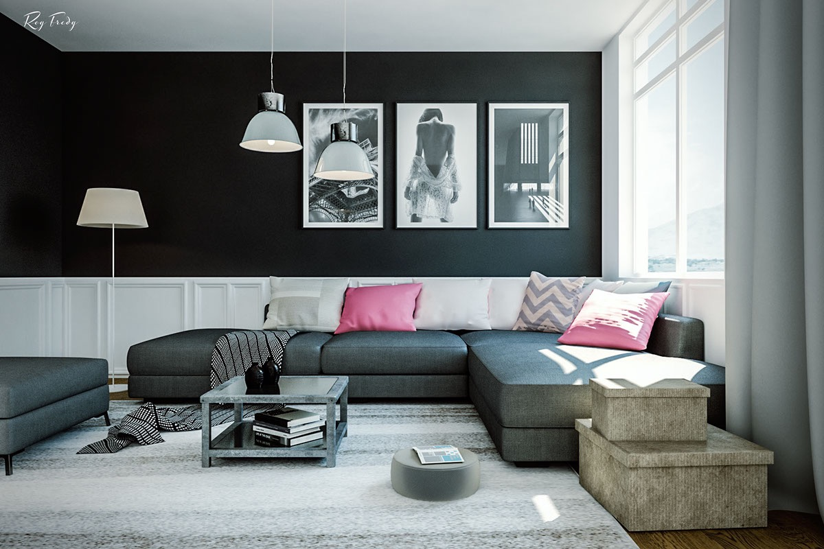 and bold white mural steals the show in this chic living room design