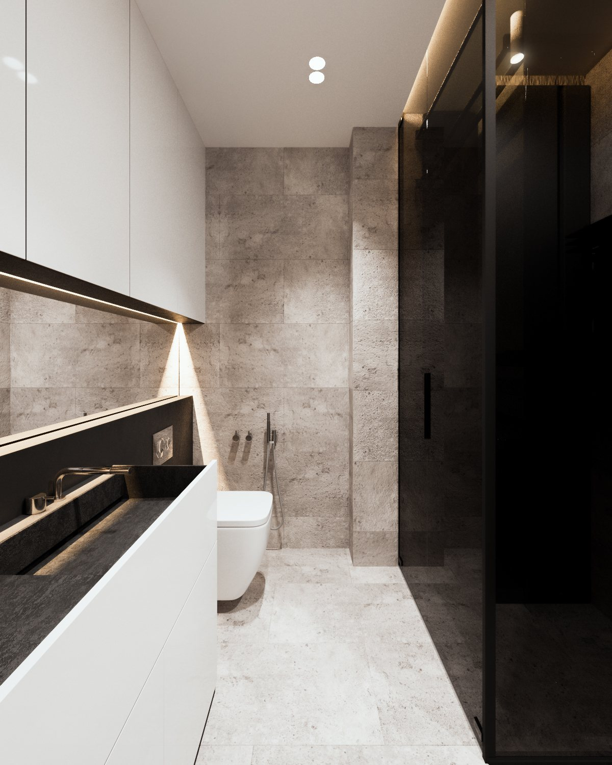 Black And White Stone Bathroom - A calm and simple family home with neat features