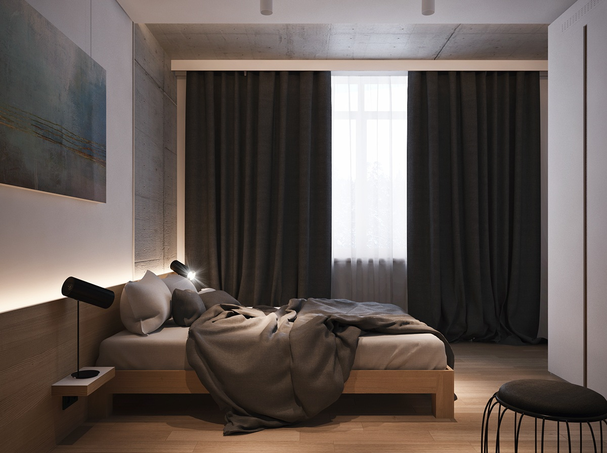 Black Bedroom Curtain Inspiration - 4 beautiful dark themed homes
