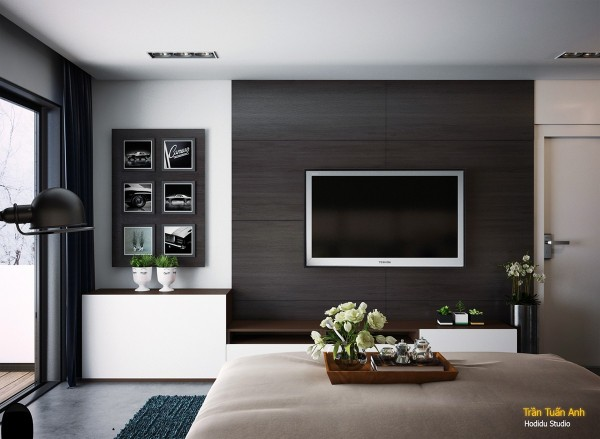 Rectangles and contrast define the overall interior design theme.