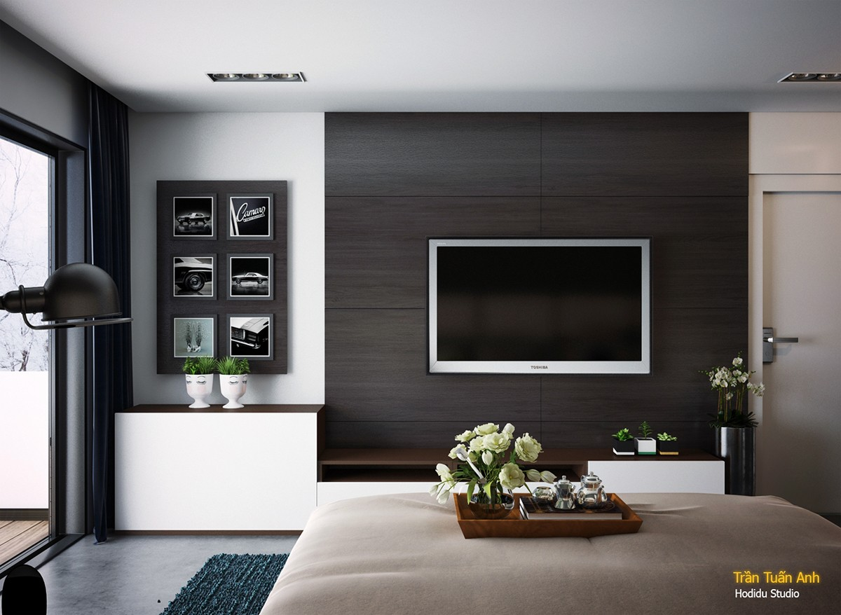 Black Wall Paneling : Bedrooms with brilliant accent walls