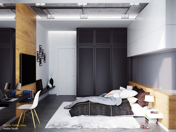 Black satin paint brings out the texture of the slatted wardrobe.