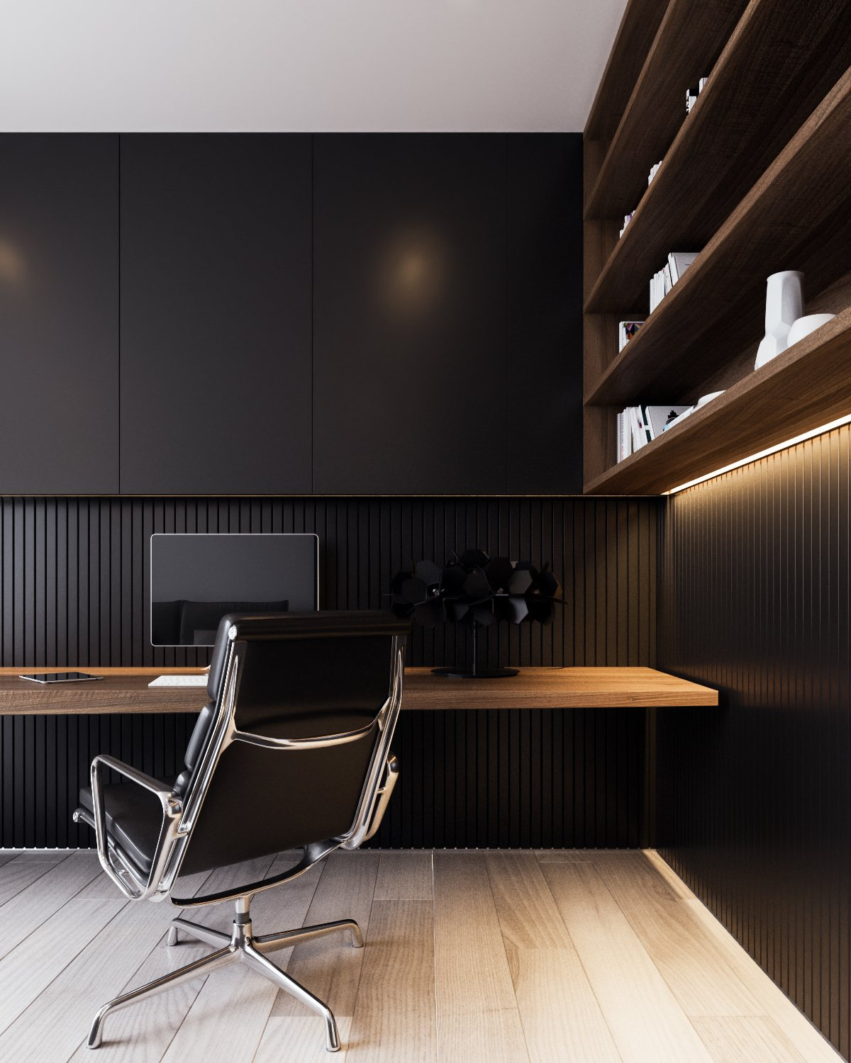Black Modern Office - A calm and simple family home with neat features