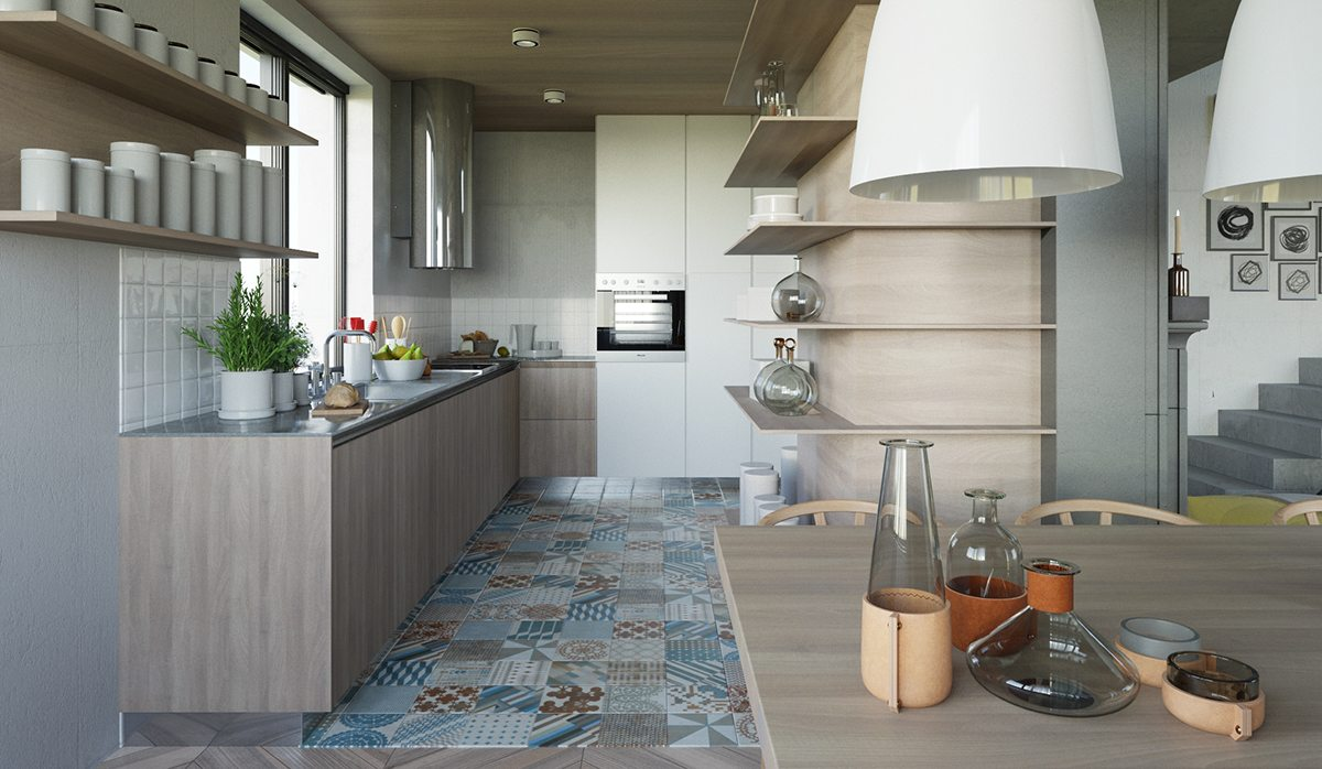 Blue And Gray Tile - 3 open layout interiors with yellow as the highlight color