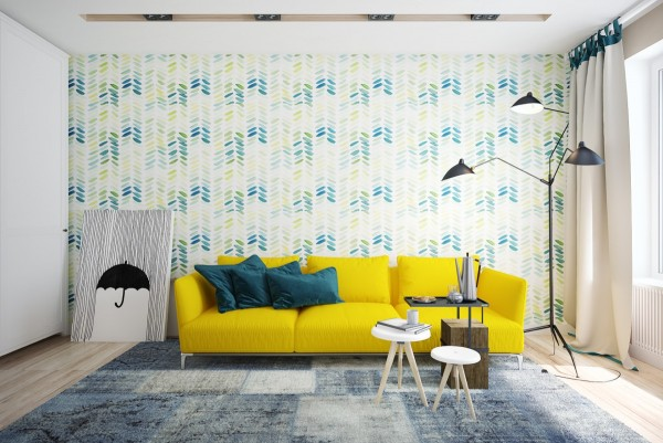 Yellow and blue are always immediately engaging. As true contrasts, this combination of raw primaries can create quite a jarring effect – this interior uses a darker and more muted shade of blue for a vibrant theme that feels lovely on the eyes. Green joins the color theme on the accent wall.
