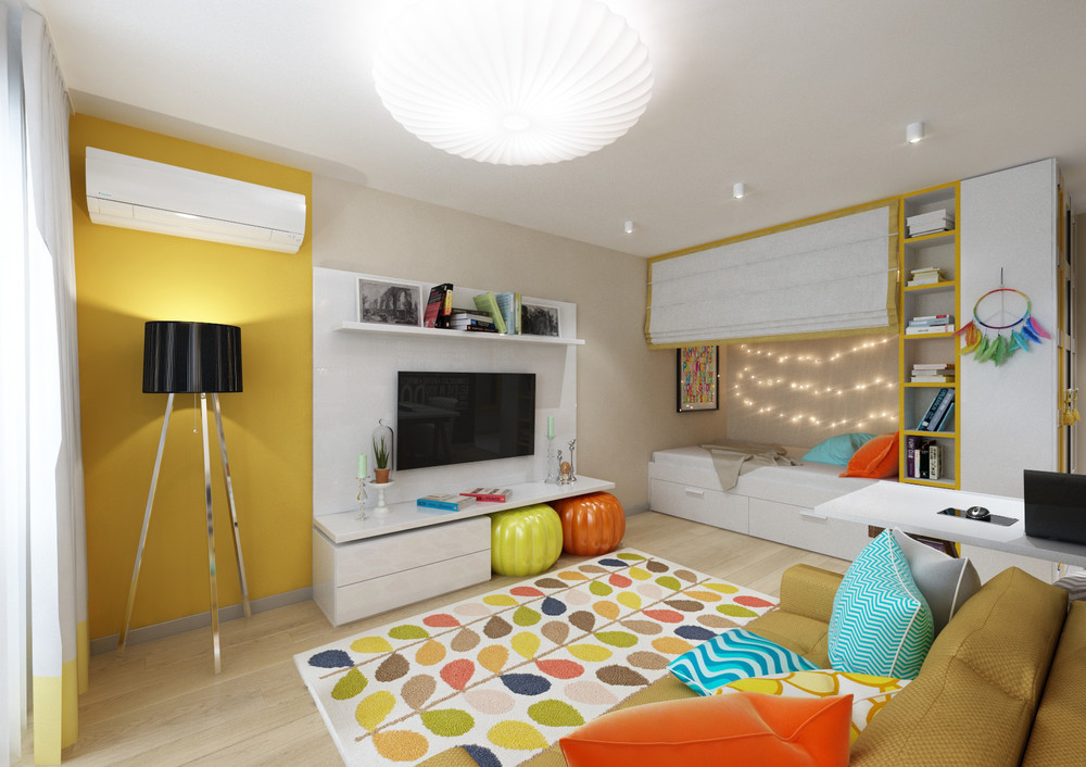 Blue Green Yellow Orange Interior - 4 inspiring home designs under 300 square feet with floor plans