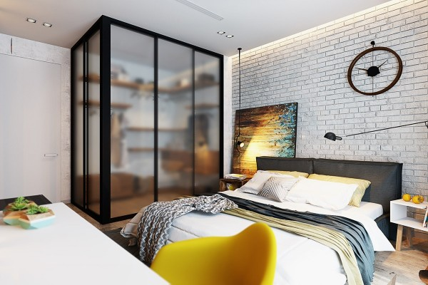Don't you think the transparent doors on the walk-in closet are interesting? The blurred design ensures this functional space doesn't make the rest of the bedroom look cluttered.