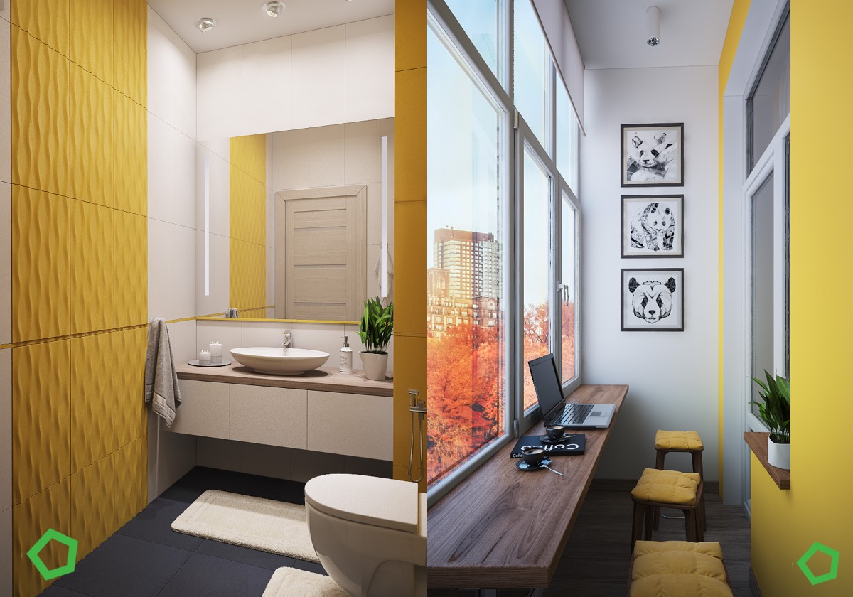 Bright Bathroom Color Ideas - 3 open layout interiors with yellow as the highlight color