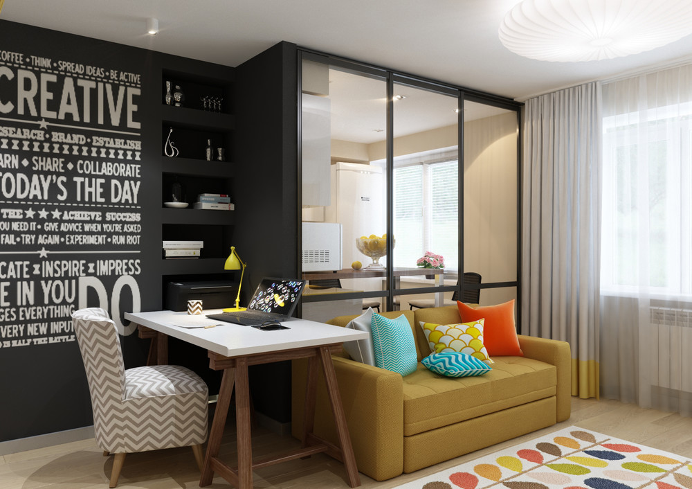 Bright Retro Apartment Design - 4 inspiring home designs under 300 square feet with floor plans