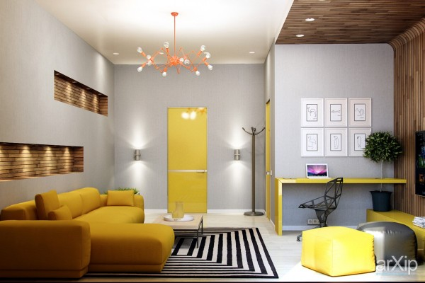 Those colorful doors are amazing! Investing in an unusual door is always slightly risky, but the risk really pays off in this small yet exciting apartment interior. A bold striped rug and neon orange chandelier add a touch of pop art flair.