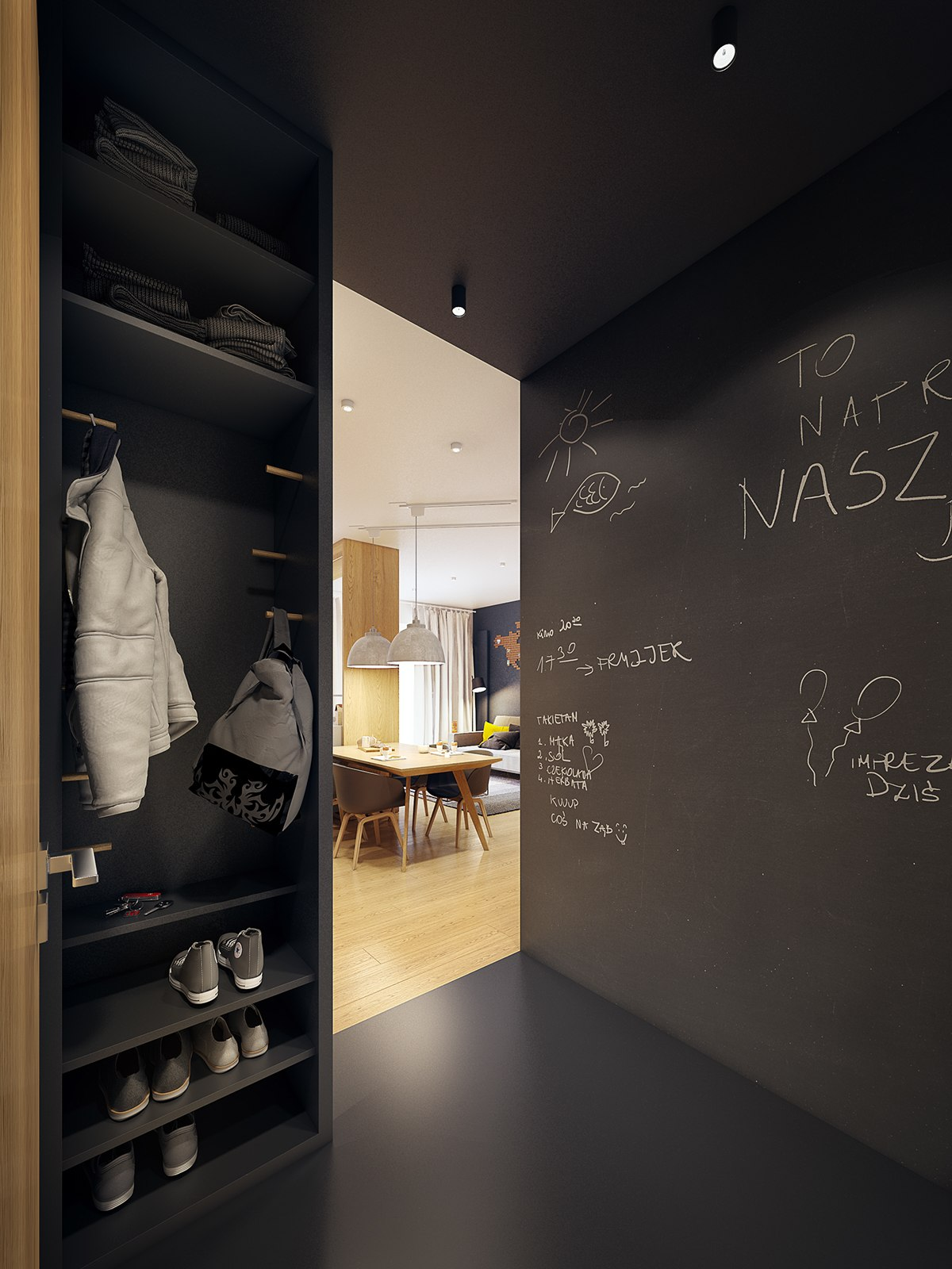 Chalkboard Wall Ideas - A modern scandinavian inspired apartment with ingenius features