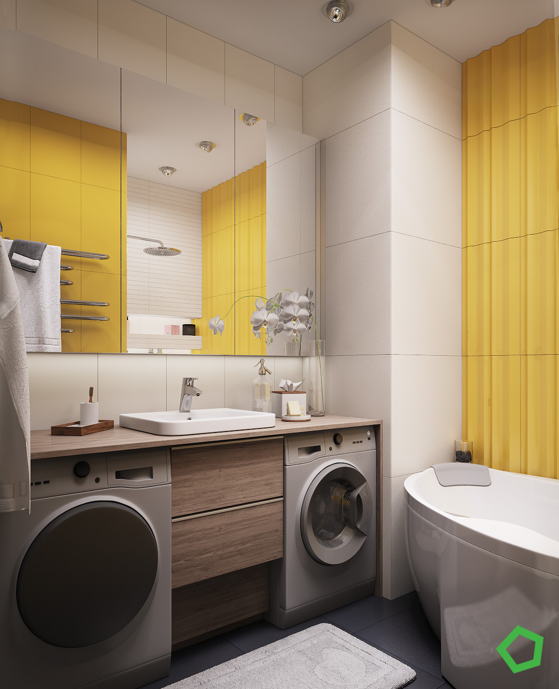 Cheerful Bright Bathroom Colors - 3 open layout interiors with yellow as the highlight color