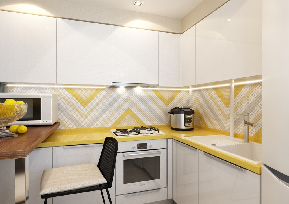 Chevron Backsplash Tiles - 4 inspiring home designs under 300 square feet with floor plans