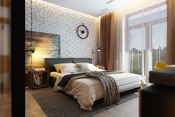 Layers of textures and patterns on the bed echo the eclectic surrounding decor.