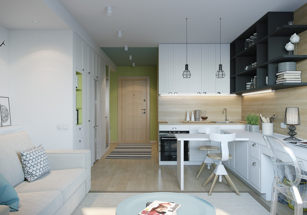 Colorful Small Apartment - 4 inspiring home designs under 300 square feet with floor plans
