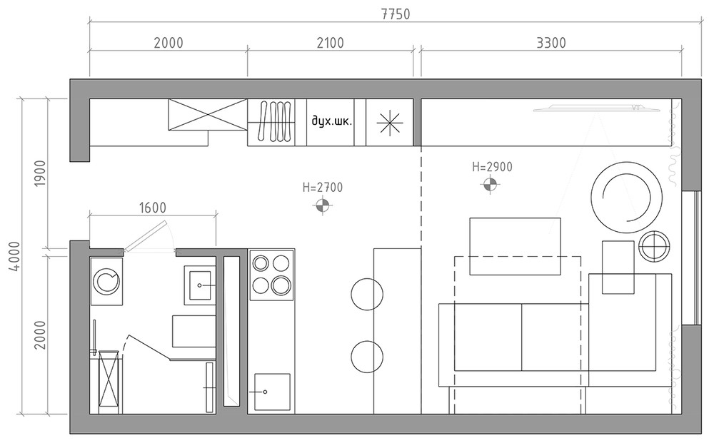 Small Apartment Kitchen Floor Plan 6 beautiful home designs under 30 square meters [with floor plans]