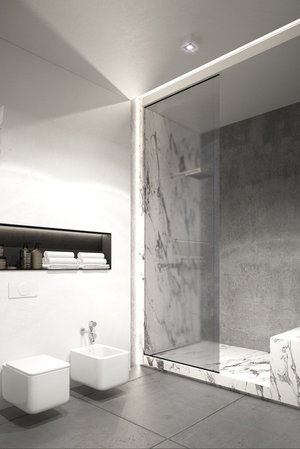 Rough concrete in the shower makes the bold marble look even more dramatic.