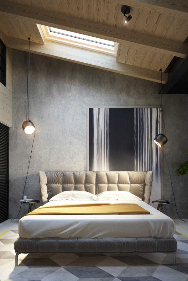 Concrete walls are featured in the bedroom, as well. Although the bed does have a very lovely headboard, the designer placed a painting partially behind it which serves as a convenient way to close the gap between the floor and the high ceilings.
