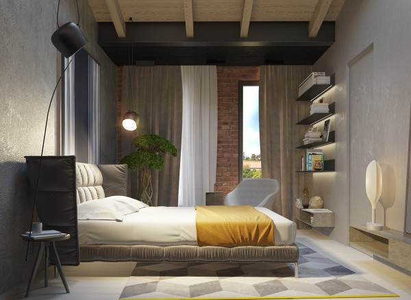Up close, you can see the intricate texture of the concrete – a very stylish choice. The exposed brick wall in the background adds another nice source of texture, and makes the yellow bedding theme look even more welcoming.