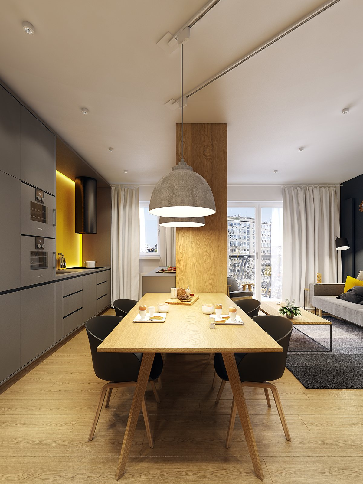 Creative Dining Room Lighting - A modern scandinavian inspired apartment with ingenius features