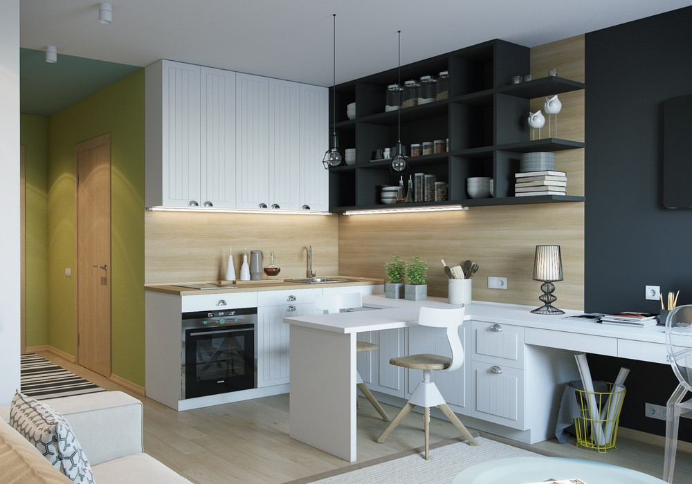 4 inspiring home designs under 300 square feet with floor for Square kitchen layout