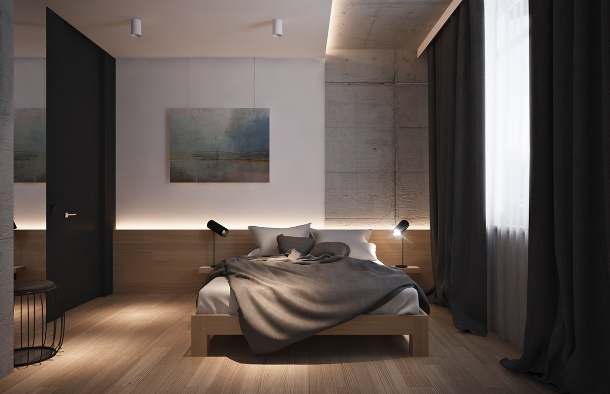 Dark And Light Bedroom - 4 beautiful dark themed homes