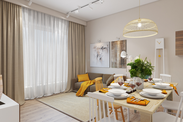 Here, part of the allure comes from surprise – while the pillows and throw were expected, but the single yellow dining chair and the yellow clock pendulum are absolutely delightful. Darker golden-yellow table napkins are a nice accessory.